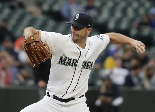 Seattle Mariners pitcher Wade LeBlanc throws to a Baltimore Orioles batter during the second inning of a baseball game Thursday, June 20, 2019, in Seattle. (AP Photo/Ted S. Warren)