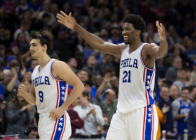 "If <a class=""link rapid-noclick-resp"" href=""/nba/players/5294/"" data-ylk=""slk:Joel Embiid"">Joel Embiid</a> thinks you're the Rookie of the Year, raise your hands. Not so fast, Dario! (Getty Images)"