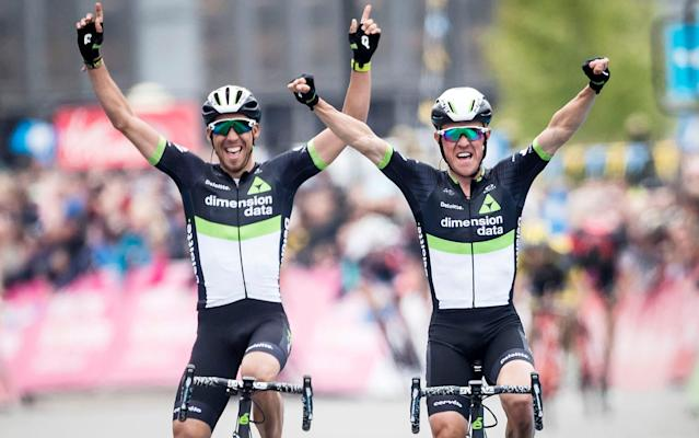 <span>Serge Pauwels (right) leads aDimension Data one-two ahead of team-mate Omar Fraile at the end of the third and final stage of the Tour de Yorkshire on Sunday</span> <span>Credit: PA </span>