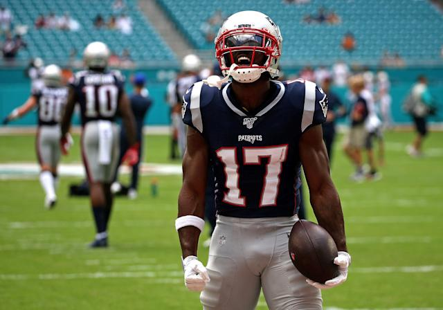 New England Patriots wide receiver Antonio Brown (17) had a notable debut with his new team. (Getty Images)