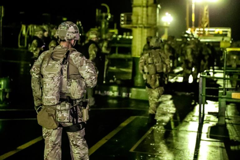 The Grace 1 was halted by police and customs agencies in Gibraltar, aided by a detachment of British Royal Marines pictured here in a Ministry of Defence photo (AFP Photo/Handout)