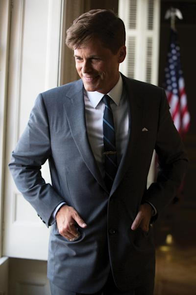 "This image released by National Geographic Channel shows Rob Lowe as President John F. Kennedy on the set of ""Killing Kennedy."" A wide range of actors have played President John F. Kennedy in the movies and on TV. (AP Photo/National Geographic Channel, Kent Eanes)??"