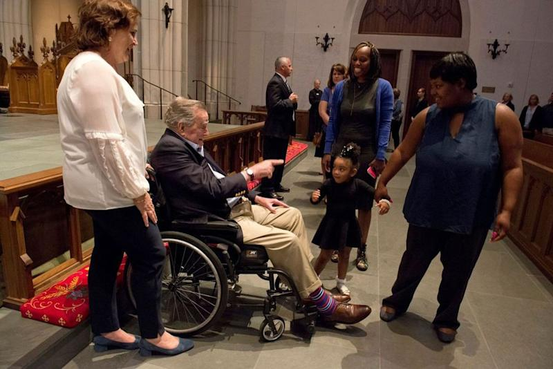 George H.W. Bush greets mourners as they paid their respects for the loss of his wife, Barbara Bush