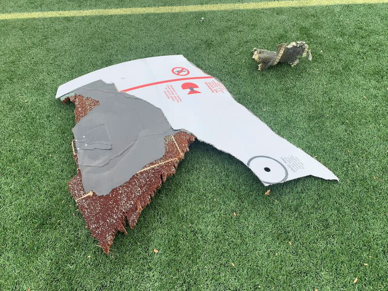 Pieces of plane debris are seen in Broomfield