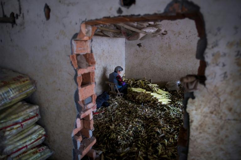 A woman cleans bamboo shoots at a market in Taihuyuan village near the city of Lin'an, Zhejiang Province