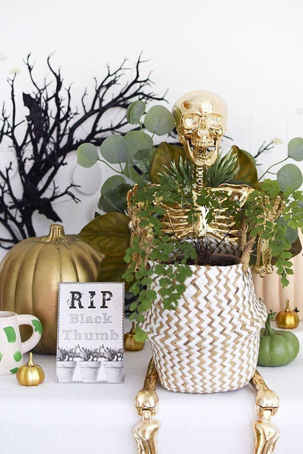 """<p>Once Halloween creeps closer, stick a few small skeletons into your potted or hanging plants for a spooky effect. </p><p><a class=""""link rapid-noclick-resp"""" href=""""https://www.delineateyourdwelling.com/gold-plant-lady-skeleton/"""" rel=""""nofollow noopener"""" target=""""_blank"""" data-ylk=""""slk:GET THE TUTORIAL"""">GET THE TUTORIAL</a></p>"""