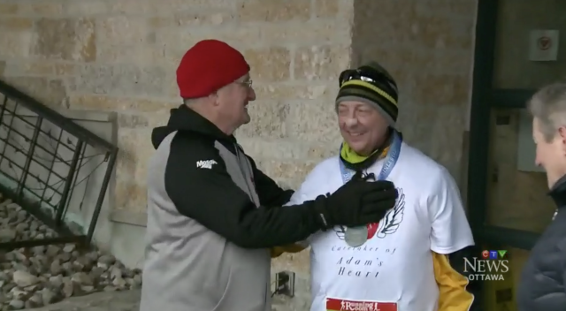 A heart transplant recipient ran a celebratory race while his donor's father cheered him on. (Photo: CTV News)