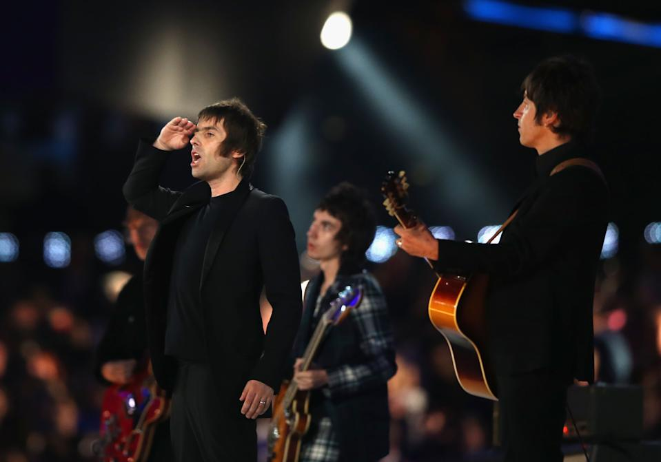 Liam Gallagher of Beady Eye performs during the Closing Ceremony on Day 16 of the London 2012 Olympic Games at Olympic Stadium on August 12, 2012 in London, England. (Photo by Hannah Johnston/Getty Images)