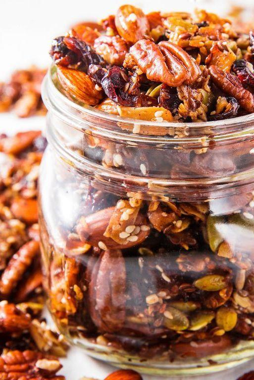 "<p>This paleo granola will give you a carb fix without the grains.</p><p>Get the <a href=""https://www.delish.com/uk/cooking/recipes/a29945305/paleo-granola-recipe/"" rel=""nofollow noopener"" target=""_blank"" data-ylk=""slk:Paleo Granola"" class=""link rapid-noclick-resp"">Paleo Granola</a> recipe</p>"