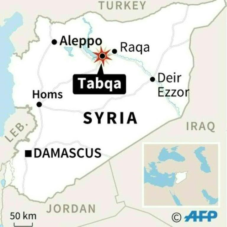 Map locating Tabqa in Syria, where US-led coalition air strike accidentally killed 18 friendly fighters