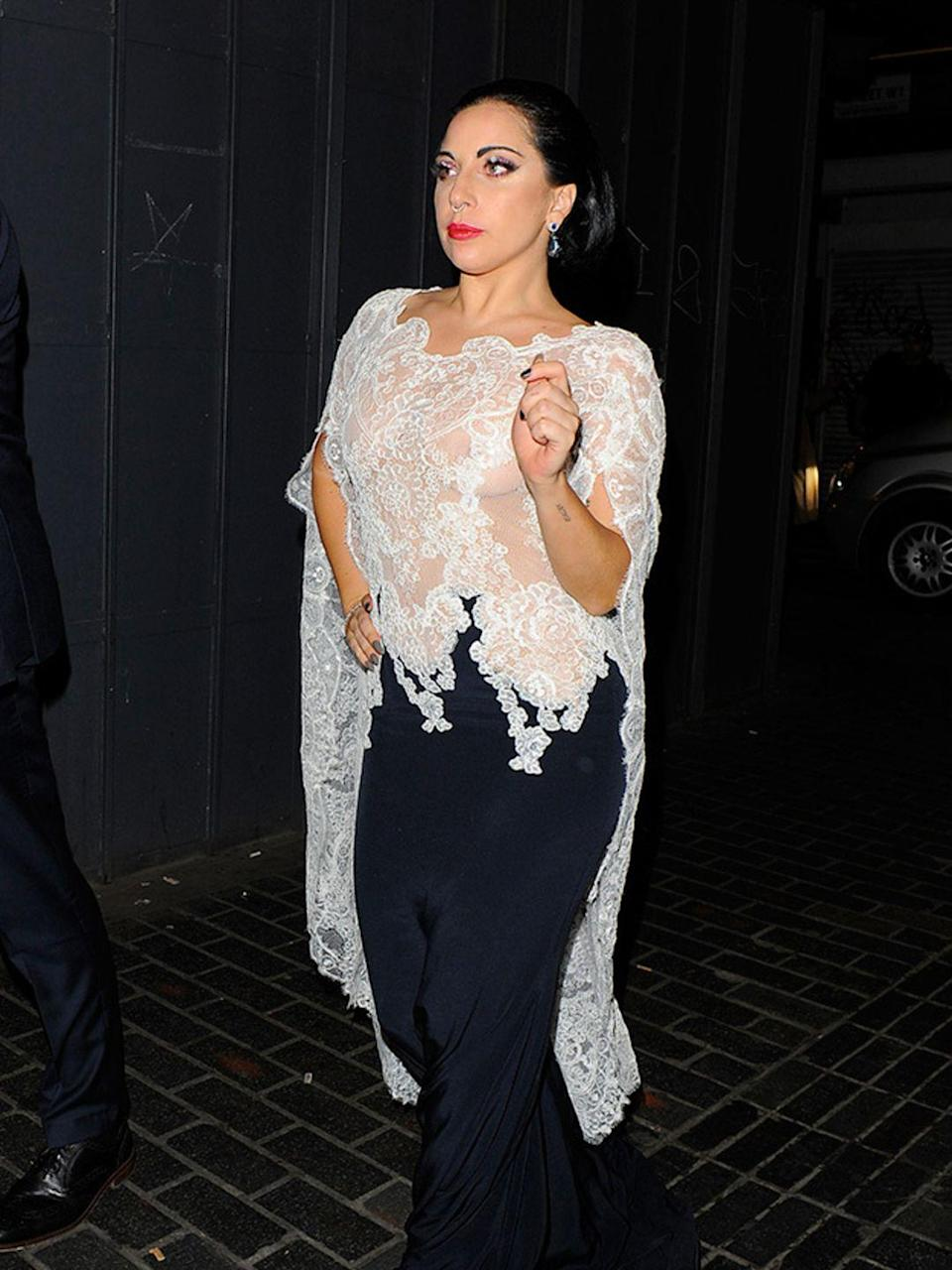 <p>Lady Gaga leaves the O2 Arena, London, October 2014.</p>