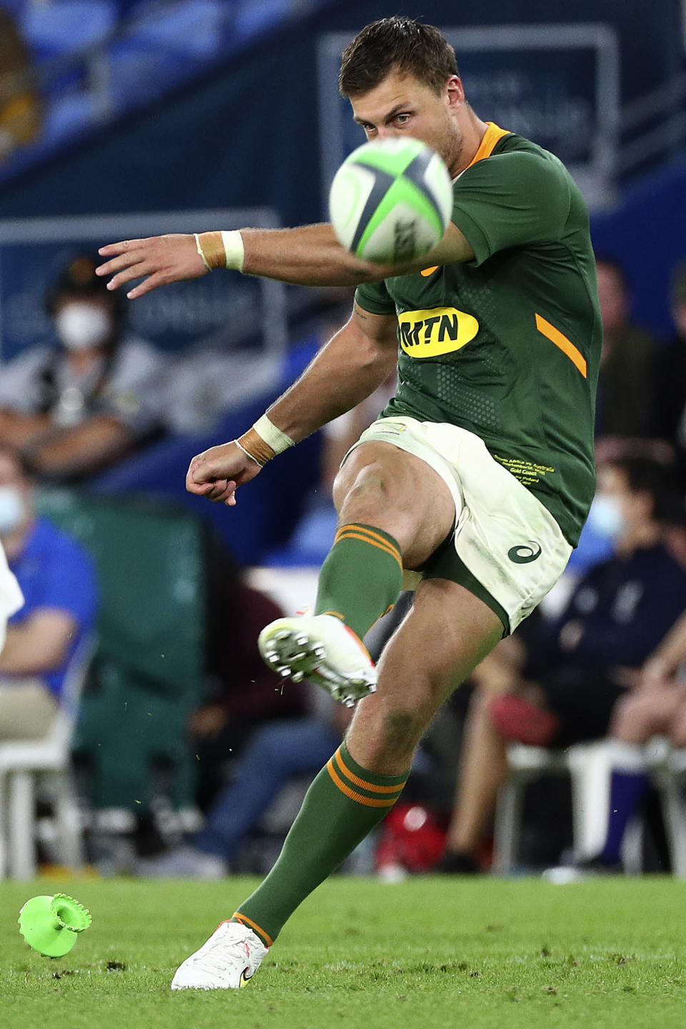 South Africa's Handre Pollard kicks a penalty against Australia during their Rugby Championship match on Sunday, Sept. 12, 2021, Gold Coast, Australia. (AP Photo/Tertius Pickard)