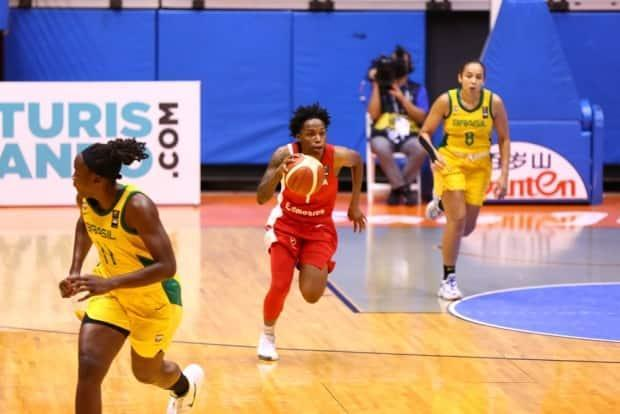 Shaina Pellington, centre, is an explosive guard who can provide instant offence off the bench.  (Submitted by FIBA - image credit)