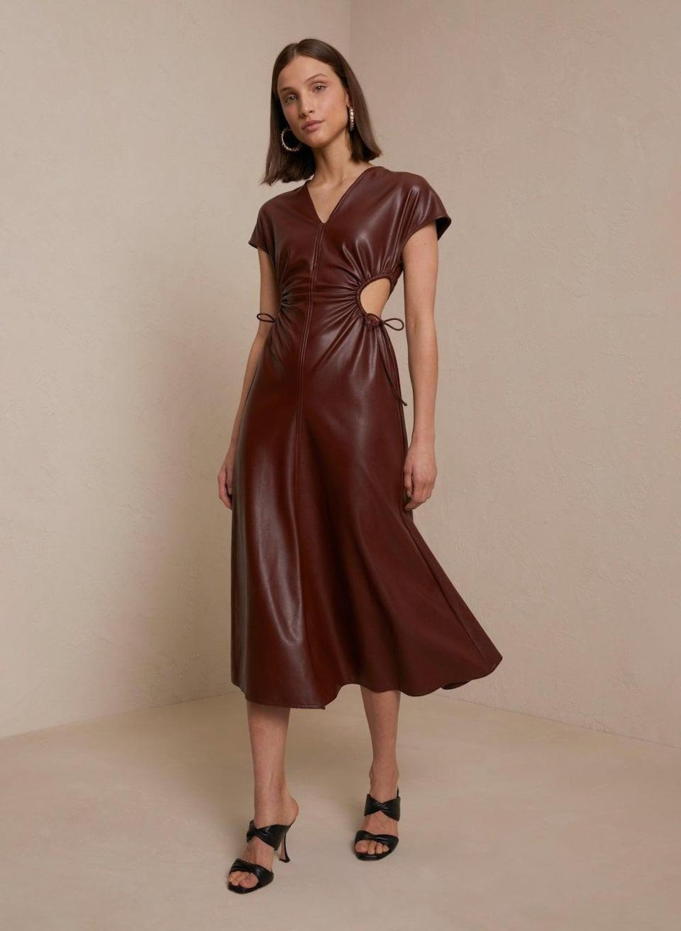 <p>This <span>Syna Vegan Leather Dress</span> ($650) is currently high on my wish list, because it looks luxe and extremely elegant. I love the side cutouts and the short-sleeve silhouette. </p>