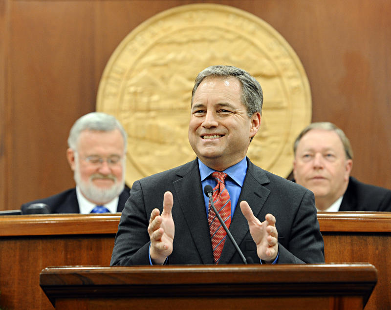 Alaska Republican Governor Sean Parnell addresses the Alaska State Legislature in the annual State of the State speech in Juneau, Alaska Wednesday, January 19th, 2011. (AP Photo/Chris Miller)