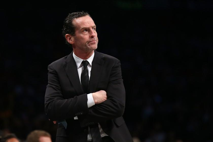 NEW YORK, NEW YORK - JANUARY 12: Kenny Atkinson of the Brooklyn Nets looks on from the bench against the Atlanta Hawks at Barclays Center on January 12, 2020 in New York City. Brooklyn Nets defeated the Atlanta Hawks 108-86.NOTE TO USER: User expressly acknowledges and agrees that, by downloading and or using this photograph, User is consenting to the terms and conditions of the Getty Images License Agreement. (Photo by Mike Stobe/Getty Images)
