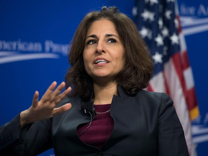"""UNITED STATES - FEBRUARY 12: Neera Tanden, president of the Center for American Progress, moderates a discussion with former Homeland Security Secretary Jeh Johnson titled """"Election Security in 50 States: Defending America's Elections,"""" on February 12, 2018. Sen. Amy Klobuchar, D-Minn., also appeared. (Photo By Tom Williams/CQ Roll Call)"""