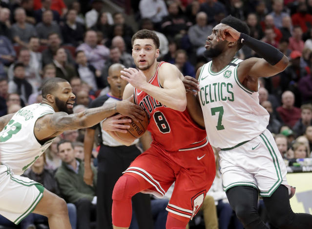 "<a class=""link rapid-noclick-resp"" href=""/nba/players/5324/"" data-ylk=""slk:Zach LaVine"">Zach LaVine</a> was minding his own business Sunday when a Baltimore seafood restaurant attacked his value as a basketball player on Twitter. (AP)"