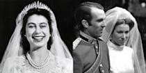 """<p>This <a href=""""https://www.royalcollection.org.uk/microsites/royalwedding1947/object.asp?object=200184&row=53&detail=about"""" rel=""""nofollow noopener"""" target=""""_blank"""" data-ylk=""""slk:piece"""" class=""""link rapid-noclick-resp"""">piece</a> was made in 1919 for Queen Mary, but it's probably most famous for being worn by both Queen Elizabeth and her daughter Princess Anne on their wedding days. Fun fact: it can also be worn as the most epic necklace ever.</p>"""