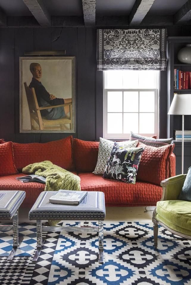 "<p>There's something about dark walls and ceilings that instantly slow you down. Plus, they're a sophisticated and unexpected design choice. In this sitting room, interior designer <a href=""https://andrewflesher.com/"" target=""_blank"">Andrew Felsher</a> contrasts the moody walls and traditional art with fun, bright furniture and prints throughout. Use the small space to your advantage and make it feel like a jewel box. </p>"