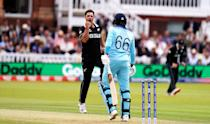 De Grandhomme celebrates taking the wicket of England's Joe Root. (Photo by John Walton/PA Images via Getty Images)