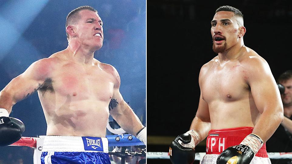 Seen here, Aussie heavyweight boxers Paul Gallen and Justis Huni.