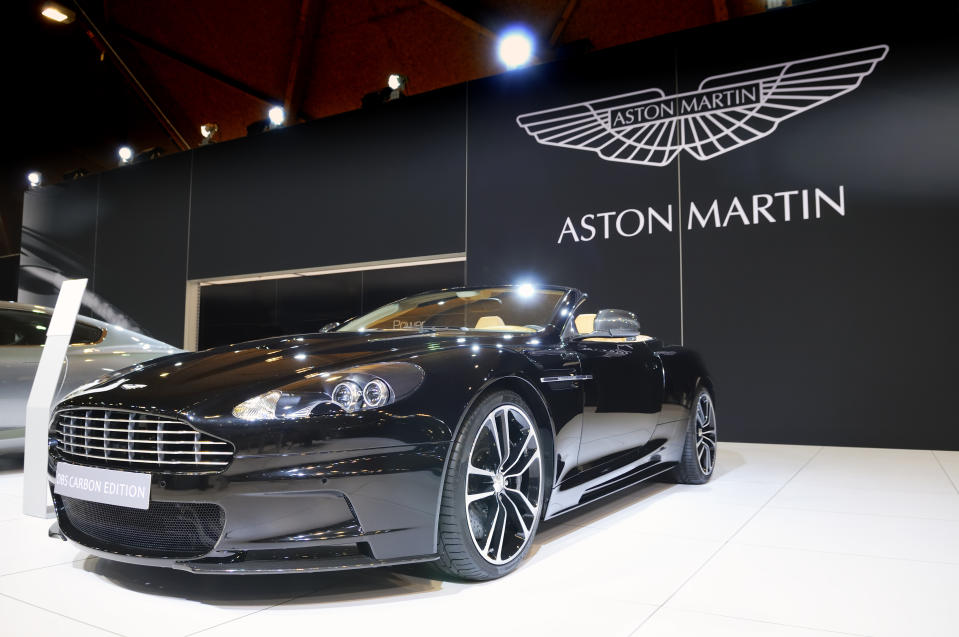 Brussels, Belgium - January 10, 2012: Black Aston Martin DBS Convertible Carbon Edition on display at the 2012 Brussels Motor Show.