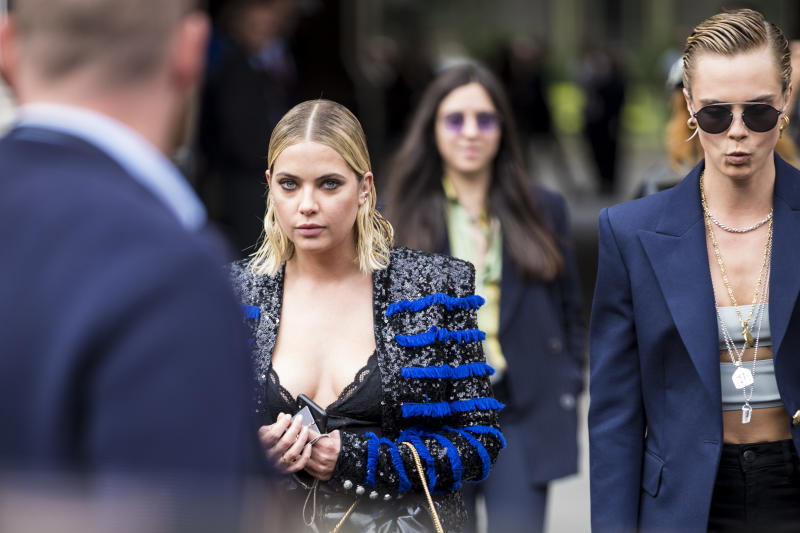 PARIS, FRANCE - SEPTEMBER 28: Ashley Benson and Cara Delevingne are seen after the Balmain show on September 28, 2018 in Paris, France. (Photo by Claudio Lavenia/Getty Images)