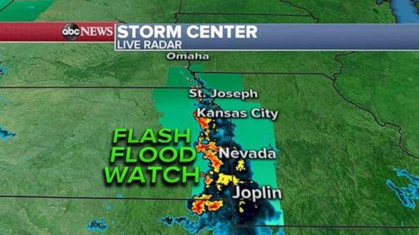 PHOTO: A flash flood watch has been issued Thursday in the Midwest. (ABC News)