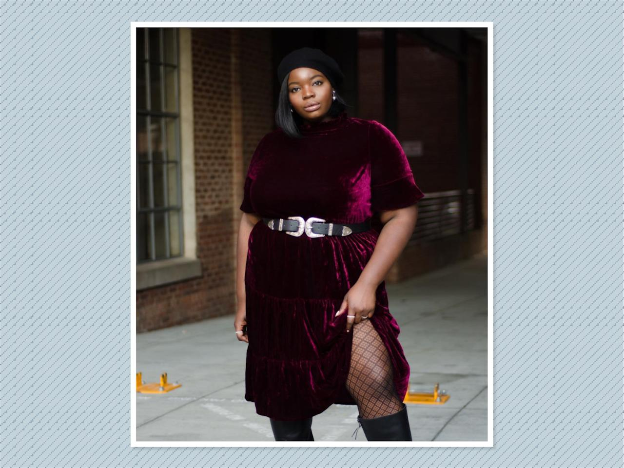 "<p>A velour dress is a classic fall essential. <a rel=""nofollow"" href=""https://www.instagram.com/p/BZy3wEqFuwe/?hl=en&taken-by=onacurve"">Valerie Eguavoen</a> styles it perfectly by belting it at the waist and pairing with fishnet tights to add texture. (Photo: Valerie Eguavoen) </p>"