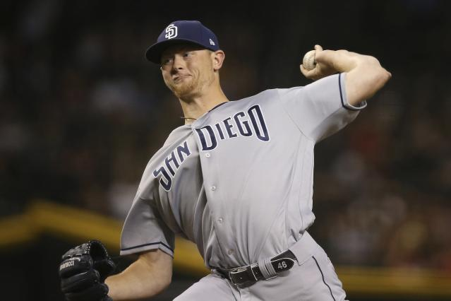 San Diego Padres starting pitcher Eric Lauer throws against the Arizona Diamondbacks during the first inning of a baseball game Friday, Sept. 27, 2019, in Phoenix. (AP Photo/Ross D. Franklin)