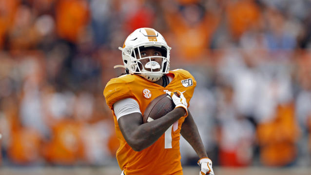 Tennessee wide receiver Marquez Callaway is averaging over 20 yards a catch. (AP Photo/Wade Payne)