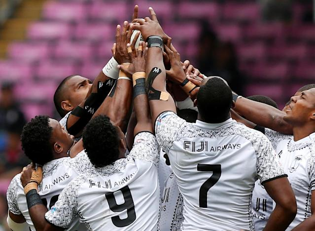 Rugby Union - Hong Kong Sevens - Fiji v Russia - Hong Kong Stadium, Hong Kong, China - April 7, 2018 Fiji players cheer. REUTERS/Bobby Yip