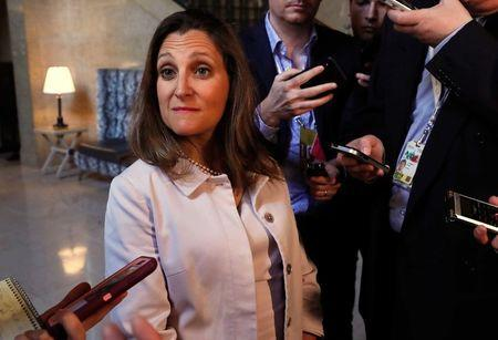 Canada Foreign Minister Chrystia Freeland speaks to media in Quebec City, Quebec, Canada June 10, 2018. REUTERS/Yves Herman