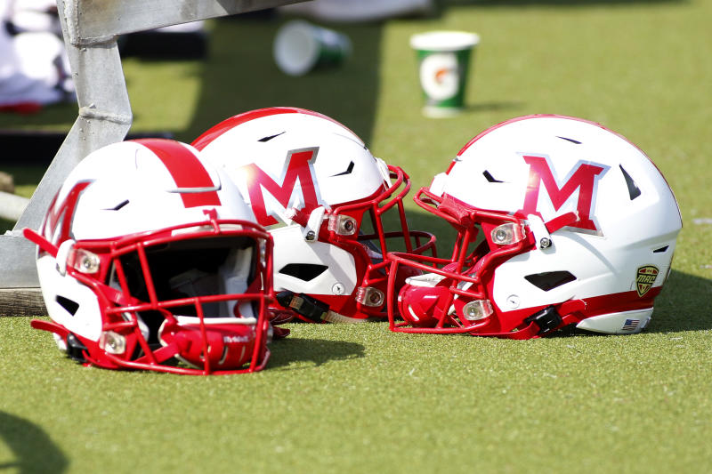 OXFORD, OHIO - SEPTEMBER 28: A Miami of Ohio RedHawks helmet on the sidelines in the game against the Buffalo Bulls on September 28, 2019 in Oxford, Ohio. (Photo by Justin Casterline/Getty Images)