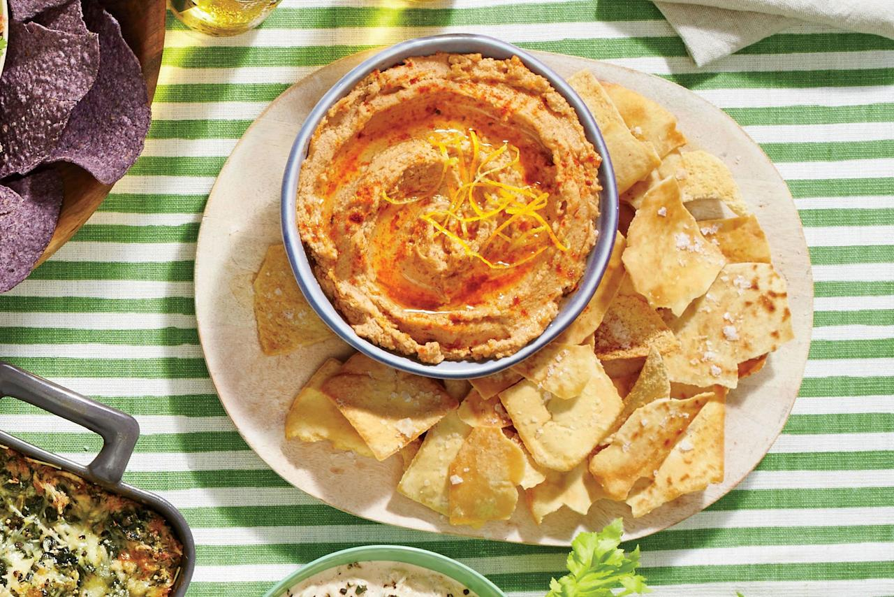 "<p><b>Recipe: <a href=""https://www.southernliving.com/recipes/smoky-black-eyed-pea-hummus-recipe"">Smoky Black-Eyed Pea Hummus </a></b></p> <p>Bring a bit of extra excitement to your hummus with the addition of smoky black-eyed peas. Serve with carrots and celery for a supremely light appetizer.</p>"