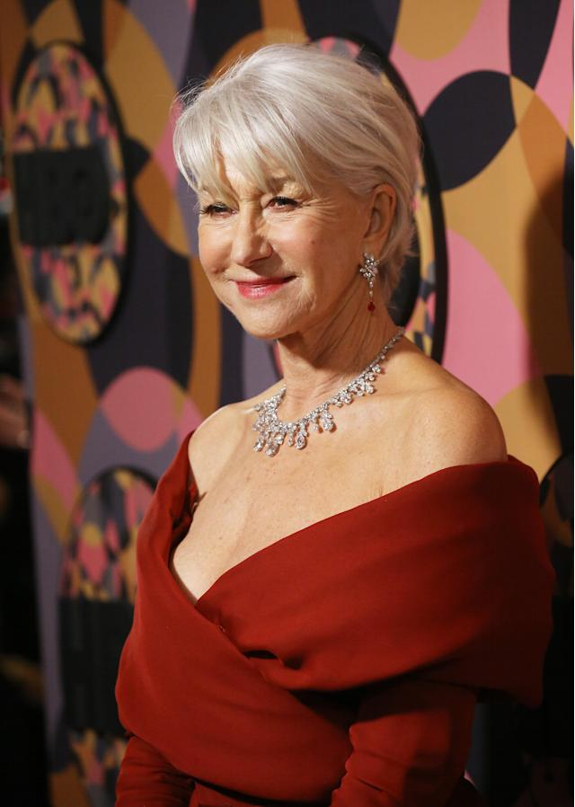 Helen Mirren, pictured at HBO's Official Golden Globes After Party last night, sports silver locks with pride. [Photo: Getty]