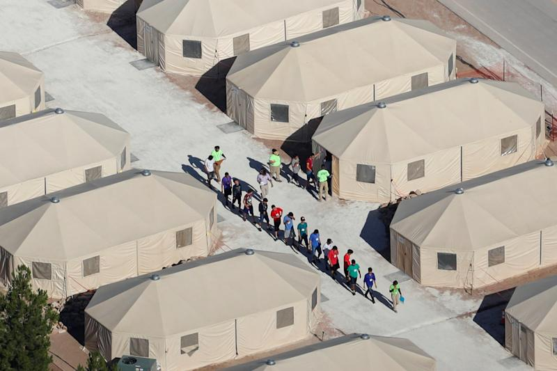 Immigrant children are being housed in tents in Tornillo, Texas, near the Mexican border on June 18. (Mike Blake / Reuters)