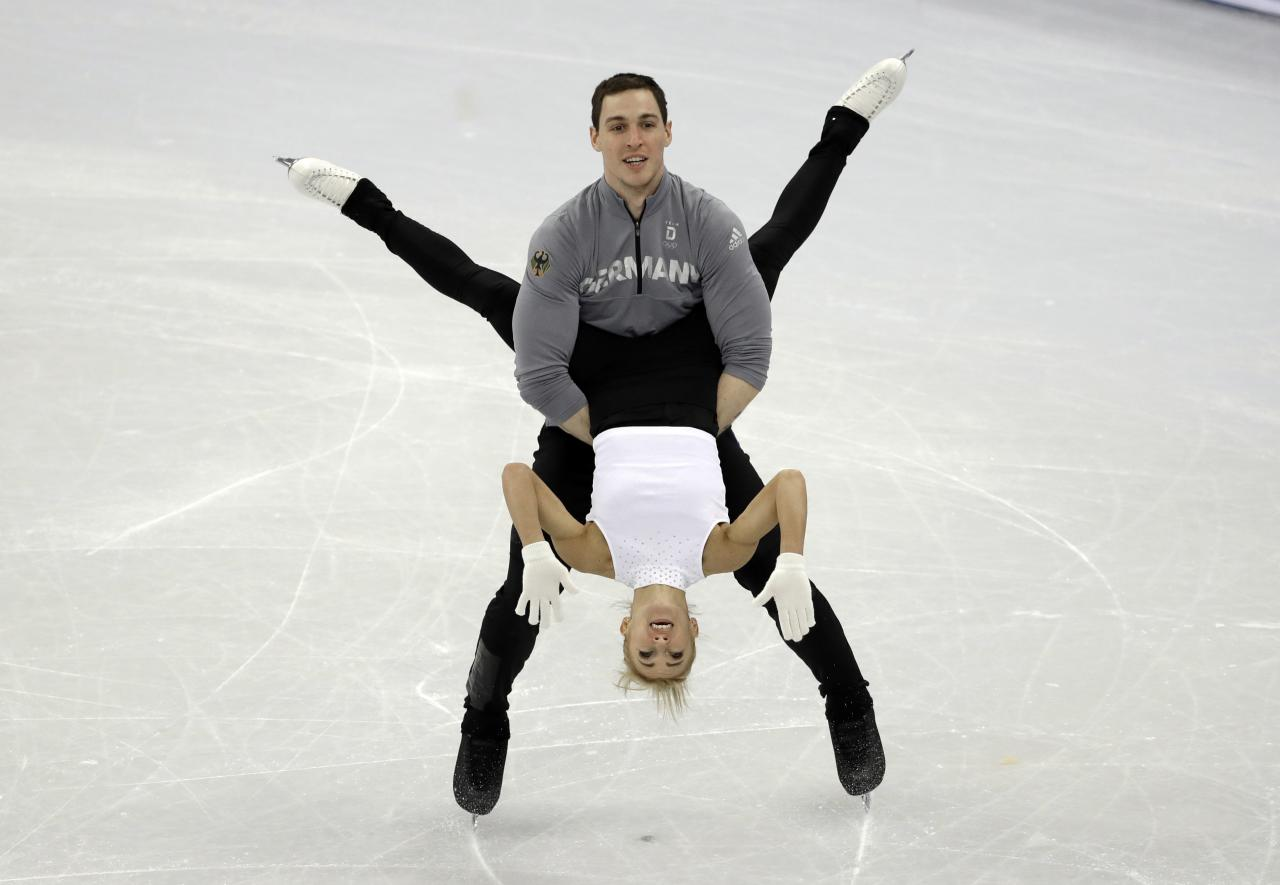 <p>Germany's Aljona Savchenko and Bruno Massot perform during a practice session, at the 2018 Winter Olympics in Gangneung, South Korea, Thursday, Feb. 8, 2018. (AP Photo/Bernat Armangue) </p>