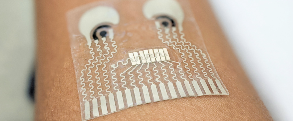 The soft, stretchy patch monitors multiple health markers. (WANG LAB/UC SAN DIEGO)