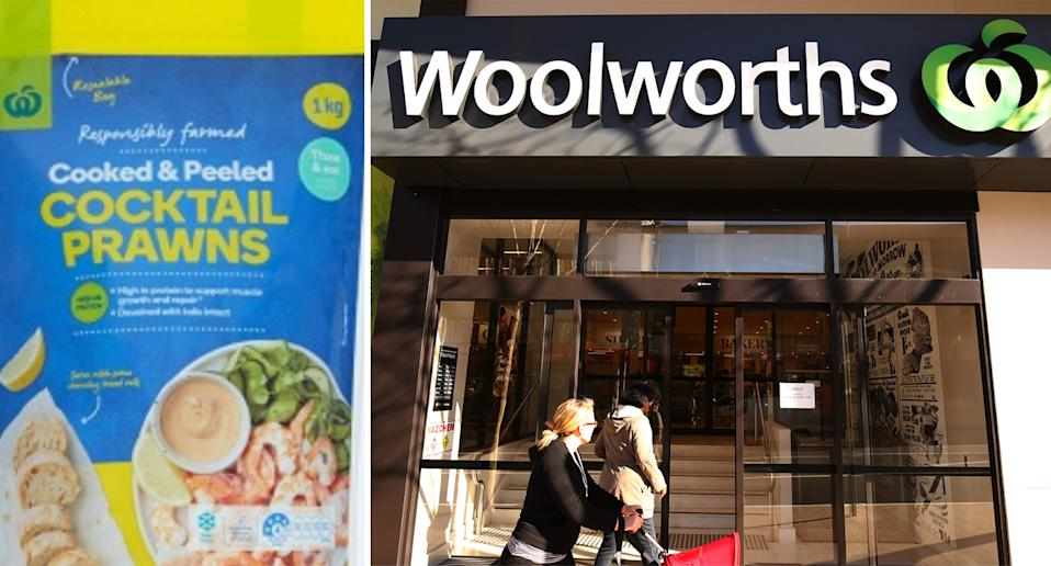 Woolworths Cooked and Peeled prawns and Woolworths store.