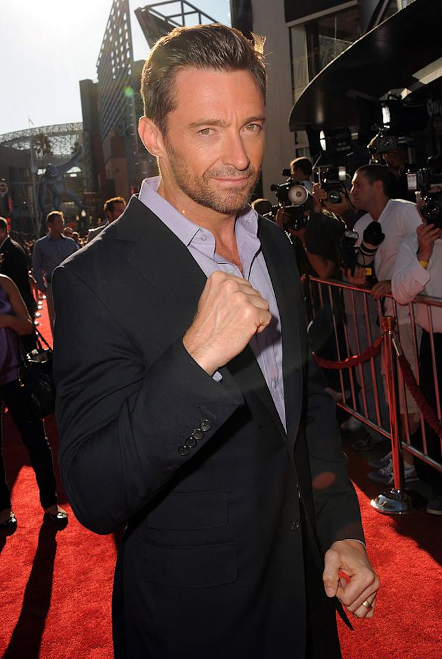 """<a href=""""http://movies.yahoo.com/movie/contributor/1800354816"""">Hugh Jackman</a> at the Los Angeles premiere of <a href=""""http://movies.yahoo.com/movie/1810130487/info"""">Real Steel</a> on October 2, 2011."""