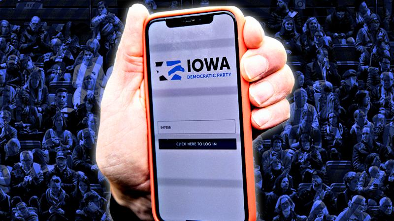 The Iowa Democratic Party caucus app is displayed on an iPhone. (Photo illustration: Yahoo News; photos: Daniel Acker/Bloomberg via Getty Images, Gene J. Puskar/AP, Getty Images)