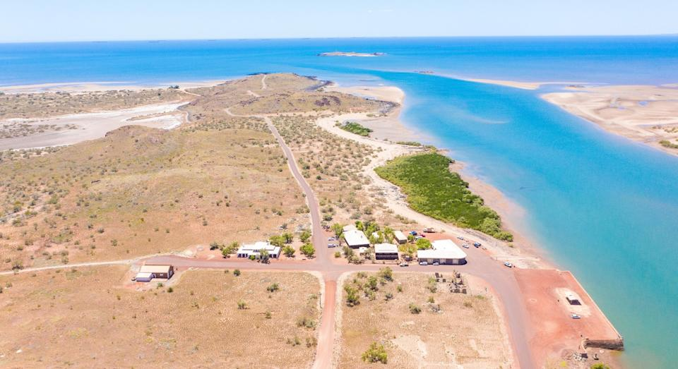 Aerial shot of Cossack WA town for sale by LJ Hooker population of two and an island included.