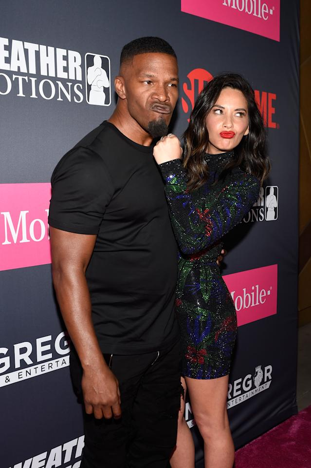 <p>Actor Jamie Foxx (L) and Actress Olivia Munn arrived on T-Mobile's magenta carpet duirng the Showtime, WME IME and Mayweather Promotions VIP Pre-Fight Party for Mayweather vs. McGregor at T-Mobile Arena on August 26, 2017 in Las Vegas, Nevada. (Photo by David Becker/Getty Images for Showtime) </p>