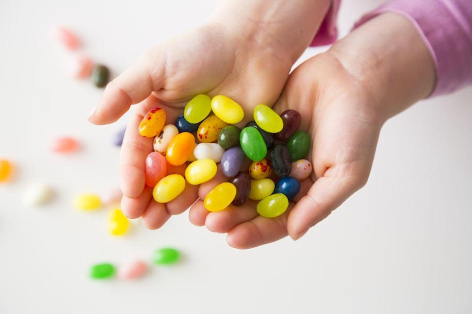 "<p>That's enough jelly beans to circle the globe not once, not twice, but three times — or to fill a plastic egg the size of a <a href=""https://www.popsugar.com/food/Easter-Fun-Facts-200482"" rel=""nofollow noopener"" target=""_blank"" data-ylk=""slk:nine-story building"" class=""link rapid-noclick-resp"">nine-story building</a>. First introduced as an Easter treat in the 1930s, we can't imagine this day without them.</p>"