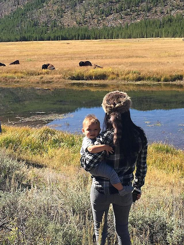 "<p>The Kardashians take Wyoming. Kourtney Kardashian explored Yellowstone National Park with her youngest son, Reign. <a href=""http://celebritybabies.people.com/2015/09/24/kourtney-kardashian-son-reign-yellowstone-national-park-instagram/"" rel=""nofollow noopener"" target=""_blank"" data-ylk=""slk:Mason and Penelope weren't left out"" class=""link rapid-noclick-resp"">Mason and Penelope weren't left out</a>, but instead they hung back with aunties Khloé and Kim, and cousin North West. (Photo: Kourtney Kardashian via Instagram) </p>"