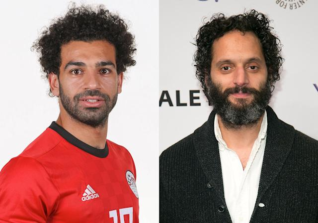 <p>Egyptian forward Mohamed Salah and <em>The League</em> actor Jason Mantzoukas </p>