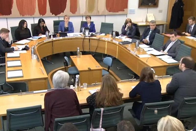 Chair Yvette Cooper at the meeting of MPs with abortion clinic representatives and pro-life campaigners. (Parliament TV)