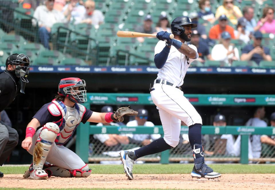 Tigers third baseman Niko Goodrum grounds out against Cleveland pitcher Shane Bieber during the fourth inning on Thursday, May 27, 2021, at Comerica Park.